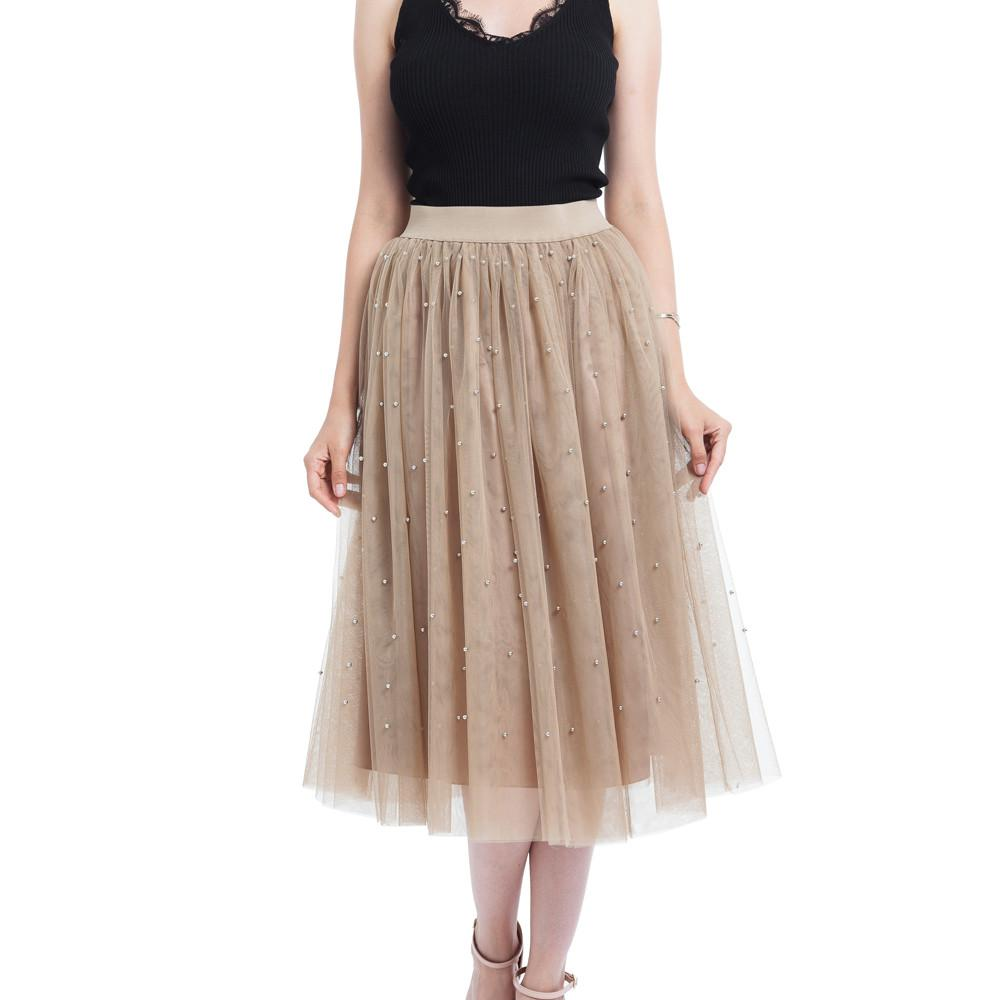 e0b2d63b1d 2019 Spring Bead Tulle Pleated Princess Mesh Bubble Skirt For Ladies Plus  Size Woman Summer Pearl Midi Skirt Travel Costume Cg From Necksweater, ...