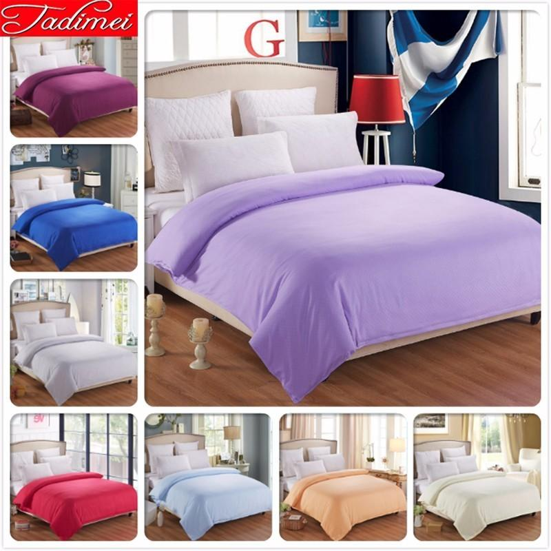 1 piece Duvet Cover Solid Plain Pure Color Quilt Bedding Bag Adult Kid Girl Soft Cotton Single Twin Full Queen King Size 150x200