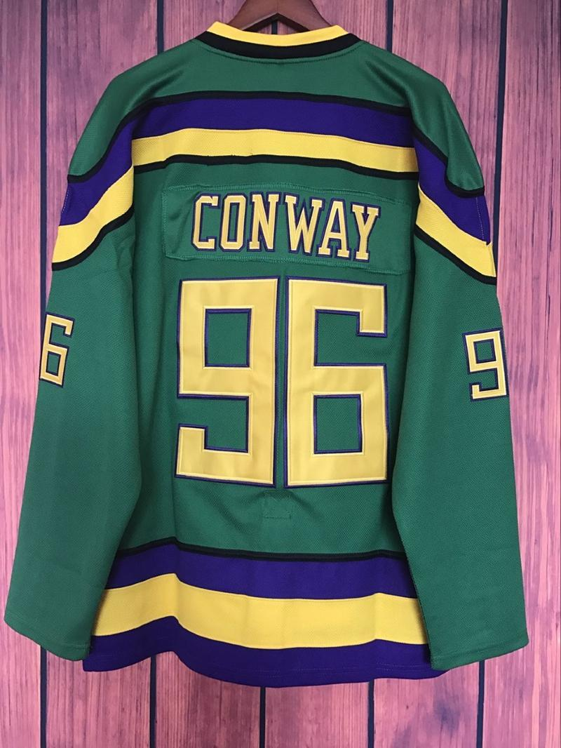 2019 Mighty Ducks Movie Jersey  96 Charlie Conway Hockey Jersey Stitched  All Sewn GREEN XS 6XL From Custom nbajersey 15679dfef