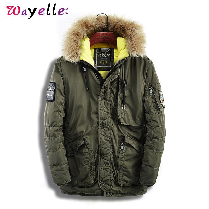 Winter Coat Men with Fur Collar Hood New 2019 Pockets Thick Warm Padded Parka Men Smart Casual Cotton Windbreaker Coats