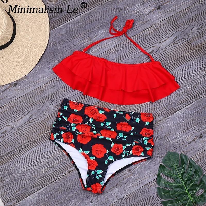 ae21da54f74f Minimalismo Le Solid Ruffle Bikinis Mujeres Sexy Traje de baño con  estampado floral Nuevo Halter Top Traje de baño Cintura alta Ropa de playa  Mujer ...