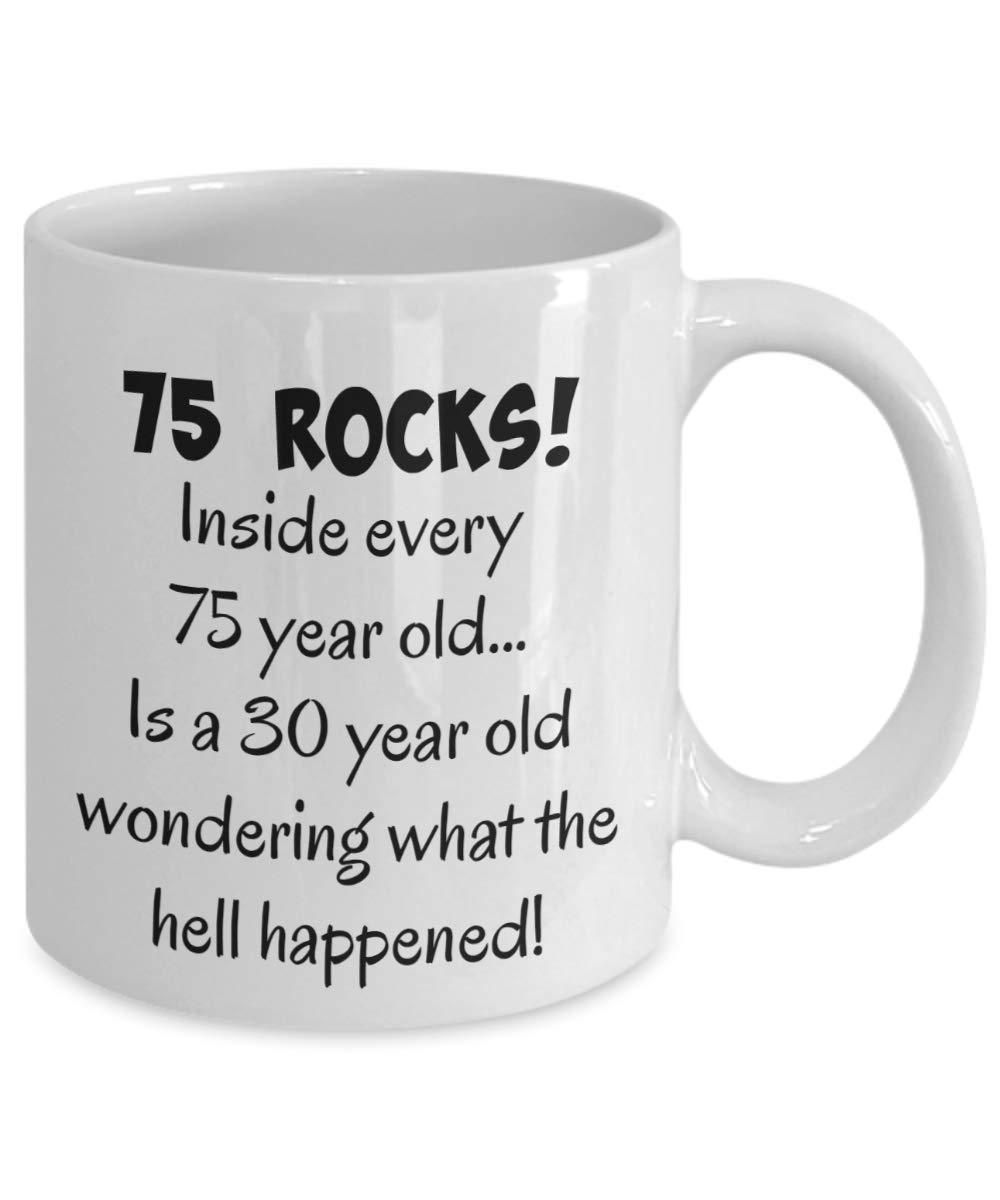 Happy 75 Year Old 1943 75th Birthday Gift Mug For Women Or Men Great Christmas White Ceramic 11 Oz Coffee Tea Cup Mugs Custom