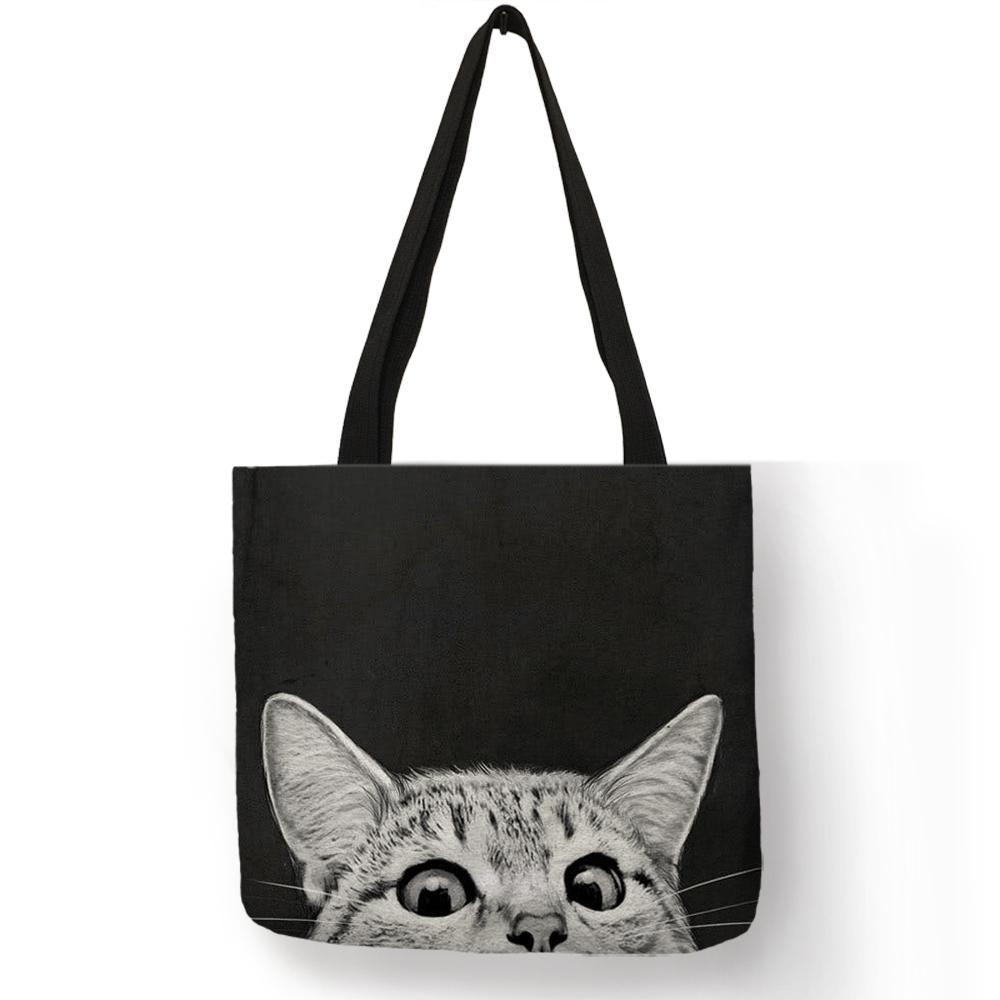 Fabric Traveling Shopping Bags Cute Kitty Cat Print Tote Bag For Women  Personality School Shoulder Bags Dropshipping Discount Designer Handbags  Wholesale ... bc16f41160041