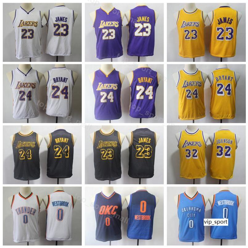 detailed look bd652 13890 Youth LeBron James Basketball Jersey Kids Kobe Bryant Johnson Thunder  Russell Westbrook Boy Girl Jerseys Edition City Shirts Uniform