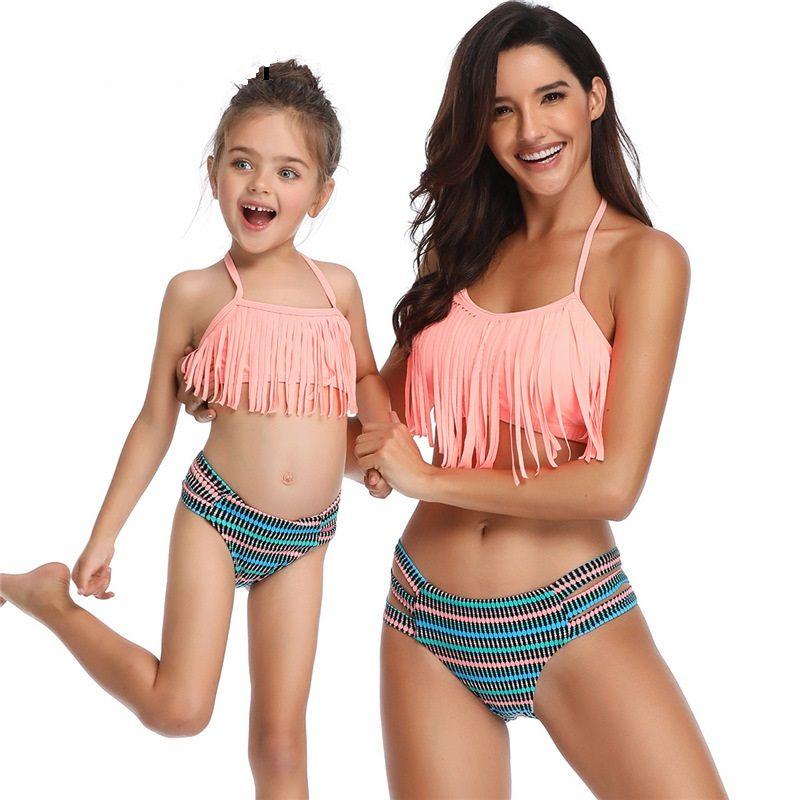209e14eab2 Cute Sexy Bikini Mother Daughter Bikini Set Split Swimsuit Tassel Sexy  Family Match Outfits Parent-child Swimsuit Neck Fringed Baby Bikini