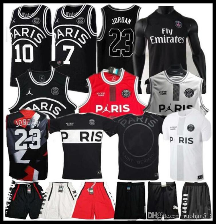 Camiseta de baloncesto PSG Paris 2019 23 Michael JD MBAPPE Camisetas de baloncesto Paris PSG X AJ Baloncesto Jordam Paris Saint Football Shirt Maillot
