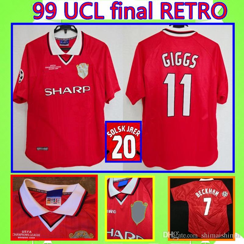 713dd1915ba Compre Manchester United   7 BECKHAM GIGGS   20 SOLSKJAER Final UCL 1999  1999 RETRO United Camisa De Futebol UTD 99 00 MAN Vintage Classic Comemorar  Coleção ...