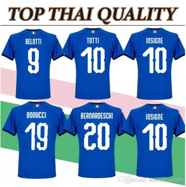 47ce33fb6 2019 Buffon Verratti Italy 2018 2019 Soccer Jersey 18 19 De Rossi Bonucci  Chiellini INSIGNE Jerseys Italy World Cup Football Shirts From  Soccerfans999