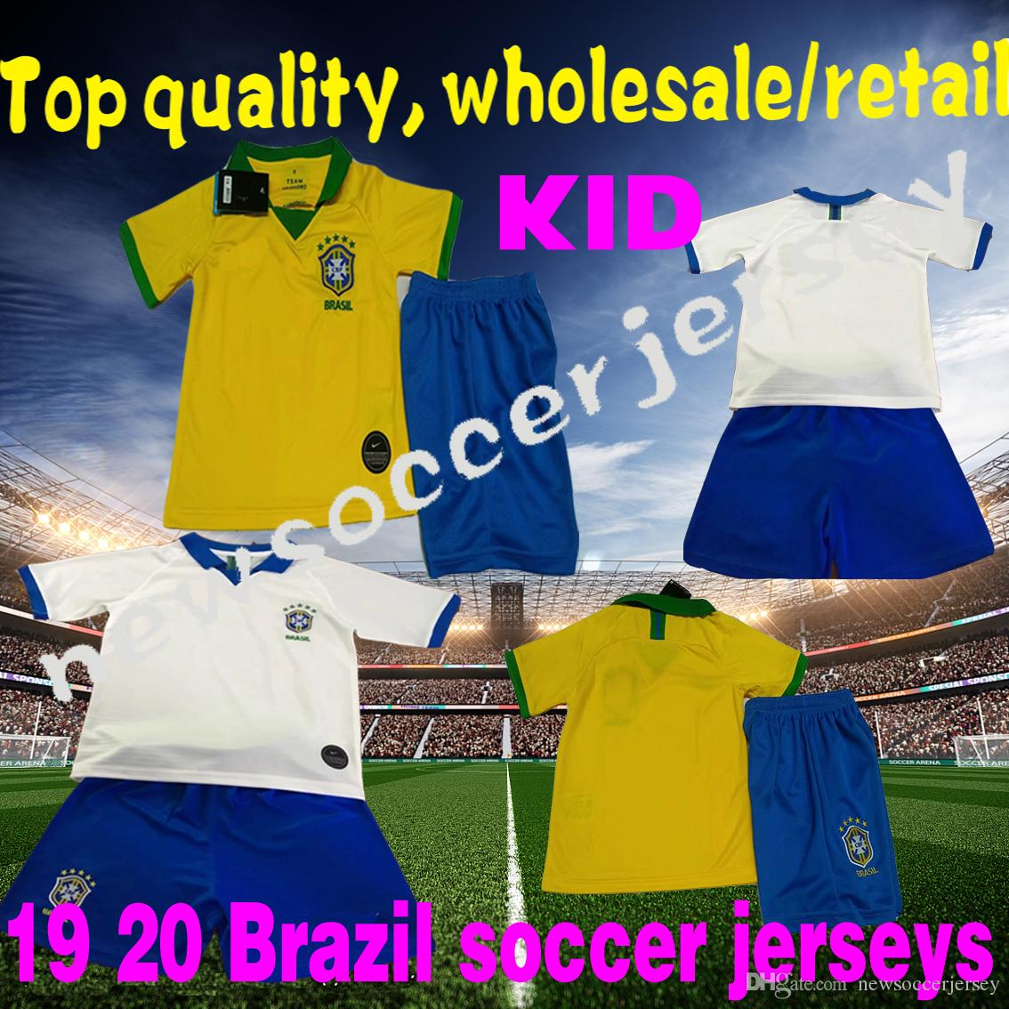 best website 28e08 2695d New 2019 2020 Brazil Child Soccer Jersey 19 Brazil jersey Youth shirt JESUS  COUTINHO FIRMINO MARCELO Soccer Shirt Brasil camiseta de fútbol
