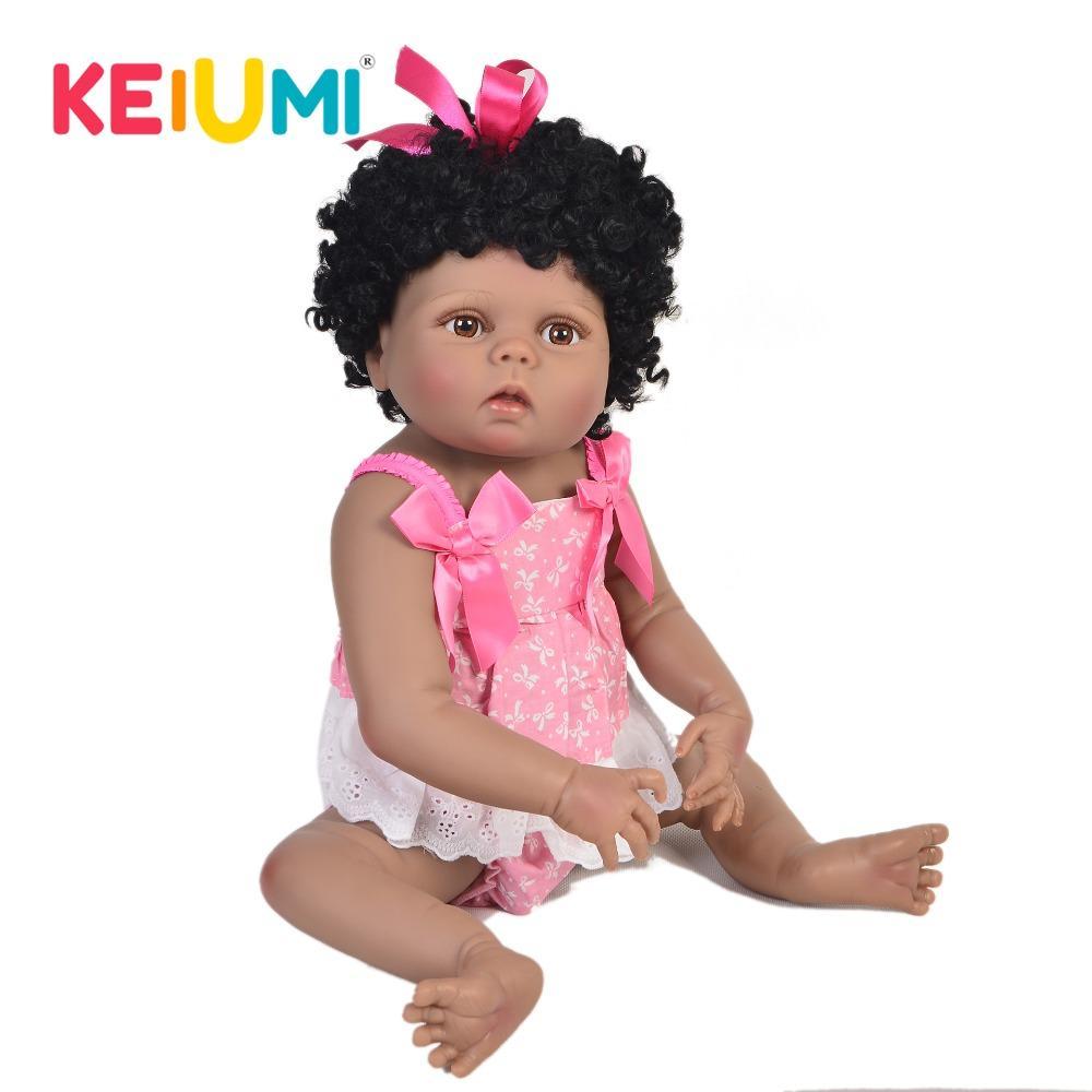 fc83339dc0c33 Acheter Vente Chaude Peau Noire 23    57 Cm Reborn Baby Doll Corps Complet  En Silicone Réaliste Princesse Fille Bébé Poupée Jouet Pour Enfants Cadeau  De ...