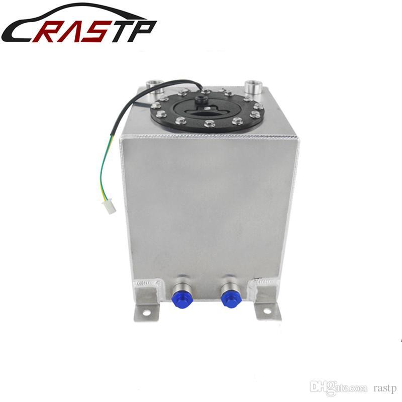 RASTP-New 10L Silver Aluminum Fuel Surge Tank Mirror Polish Fuel Cell with  Foam Inside/Sensor RS-OCC022