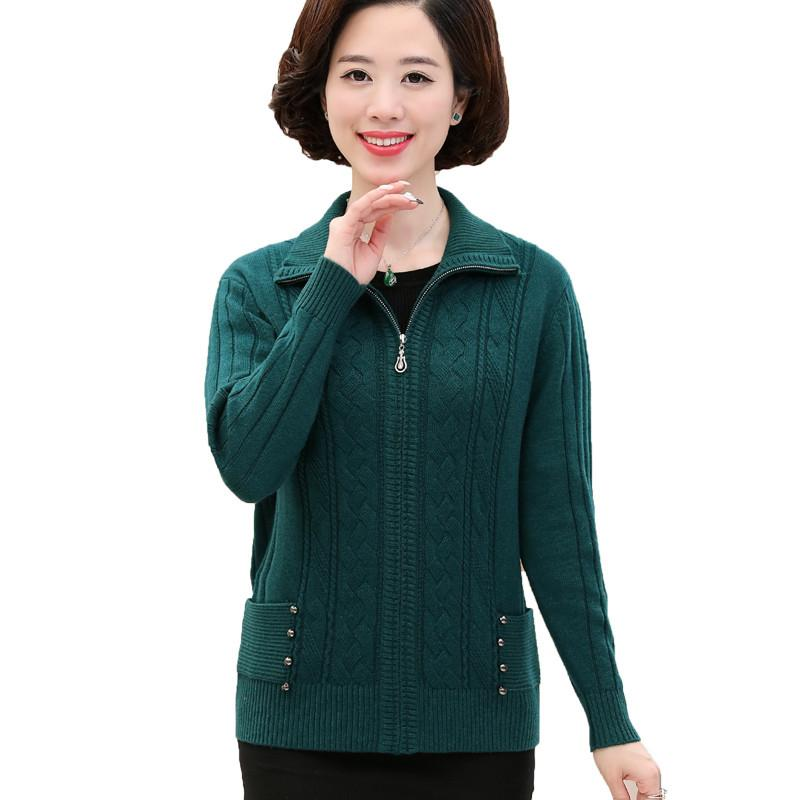 2019 Cardigan Sweater Middle Aged Female Autumn Winter Knit Tops Jacket  Women Plus Size 4XL Thicken Zipper Loose Sweaters Coats H627 From Regine 6247c5060