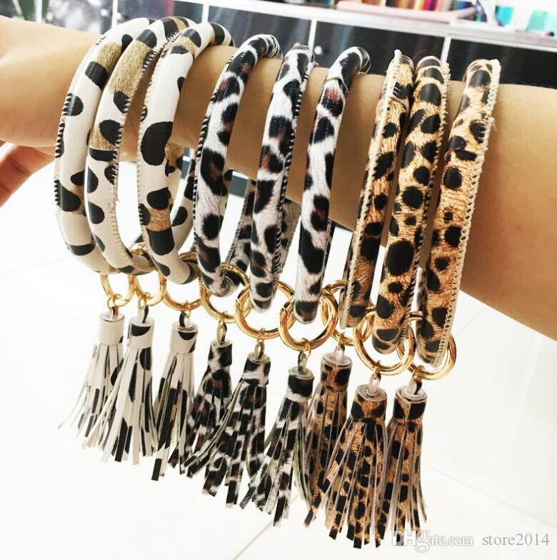 Leather Wrap Bracelet Key Ring Personalized Leopard Print Tassel Leather Bracelets O Key Ring Circle Bracelet Wristlet Key
