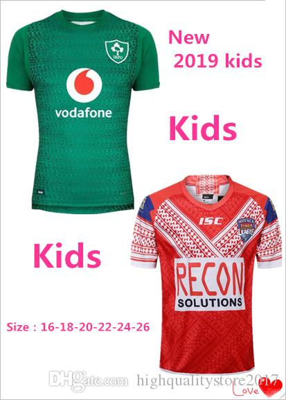 6e9851310b5 2019 !2019 TONGA Kids RUGBY TONGA RUGBY LEAGUE 2018 19 HOME JERSEY Ireland  IRFU 18 19 Home Rugby Ireland IRFU Kids JERSEY Size 16 26 From ...