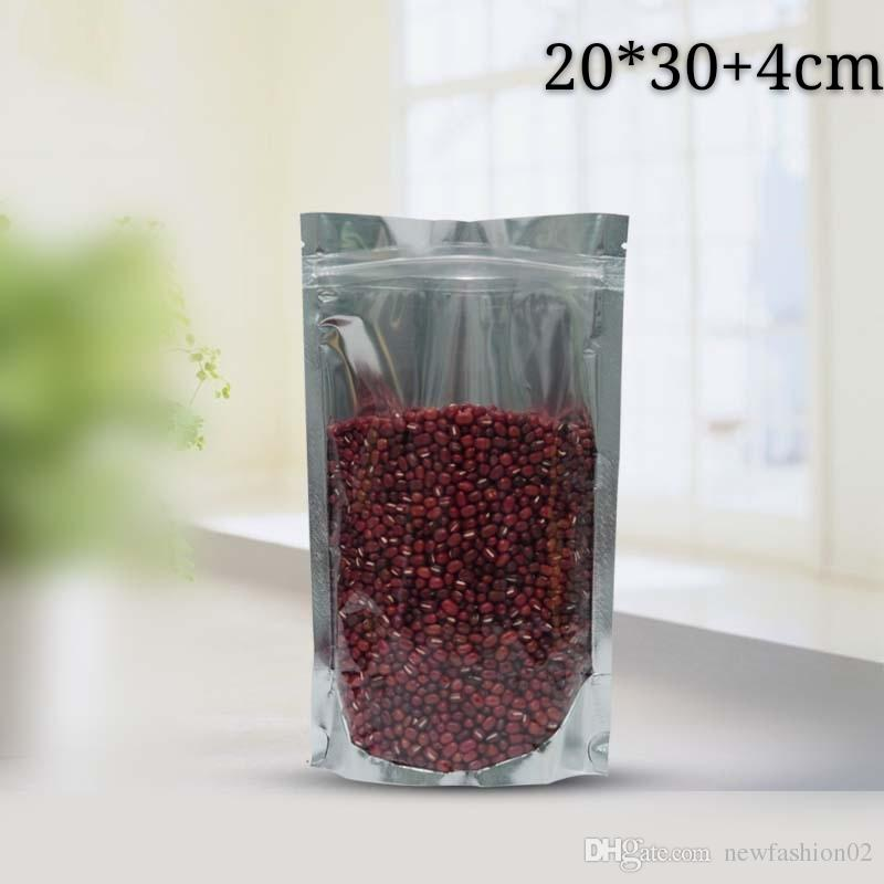 20*30+4cm 100pcs recloseable mylar clear and silver standing zipper package bag translucent and aluminum foil zip lock bag food pouch