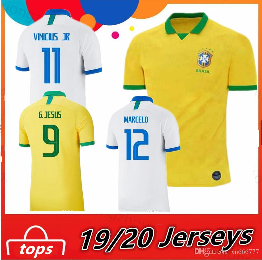 1be98a6ae 2019 2019 Brazil Soccer Jersey Copa America Camisa 2020 Brasil White JESUS  COUTINHO MARCELO VINICIUS JR Camisetas Football Shirts Maillot From  Xn666777