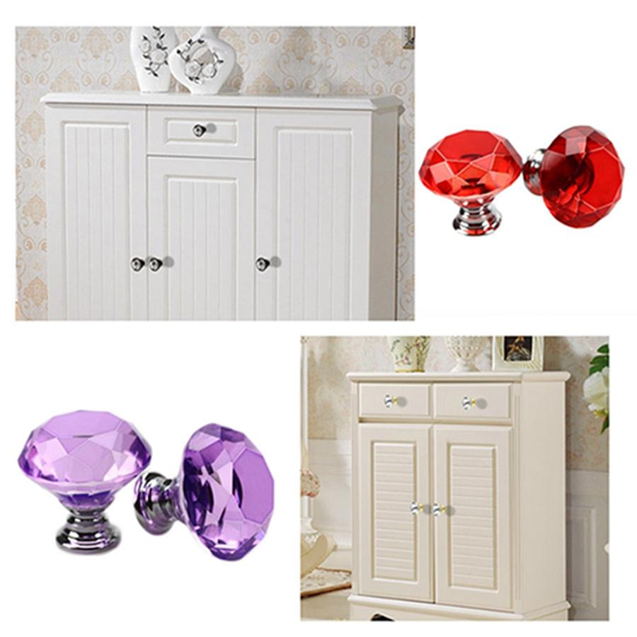 Wholesale 30mm Diamond Shape Design Handles Crystal Glass Knobs Cupboard Pulls Drawer Knobs Kitchen Furniture Cabinet Handles DH0920 T03