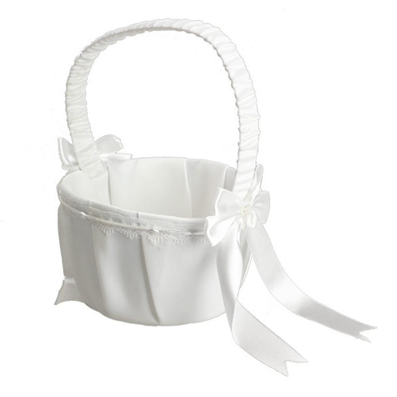 Satin Wedding Decoration Ivory Bow Love Case Flower Girl Basket For Wedding Ceremony Party Home