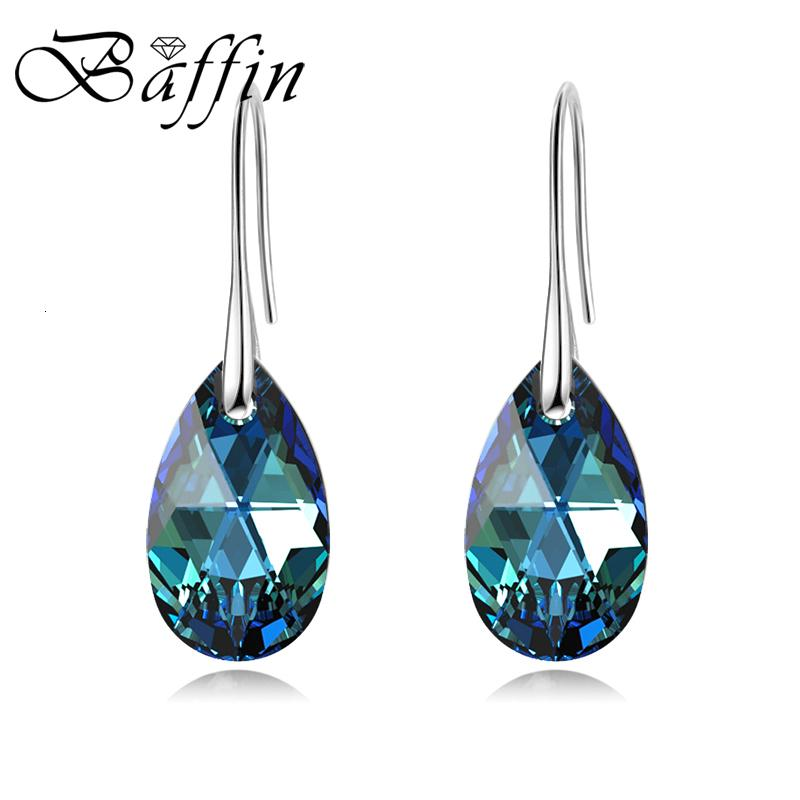 BAFFIN Korean Pear-shaped Drop Earrings For Women Genuine Crystals From Swarovski Silver Color Big Pendant Pendientes 2019 Gift V191115