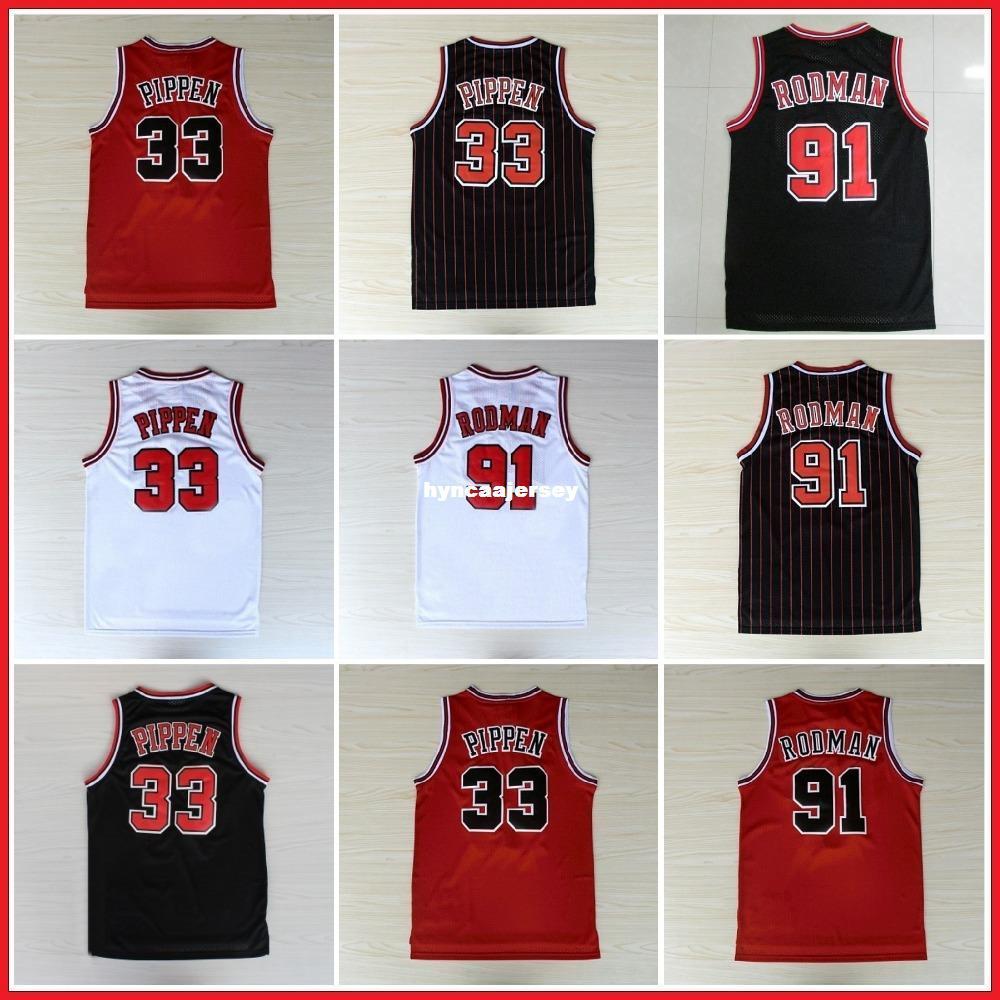 the latest ebbe5 1522f Scottie Pippen Jersey/#91 Dennis Rodman Retro Retro Basketball  Jerseys/White Red Black Stripes S-XXL Available Ncaa