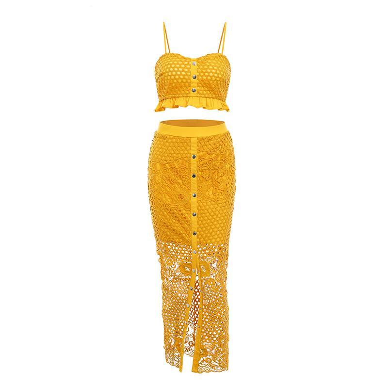 detailed look e69d4 9124d Abito lungo giallo sexy scava fuori Vestito lungo notte bianca in pizzo  arruffato Maxi Night Dress Summer Red Holiday Party Beach Dress