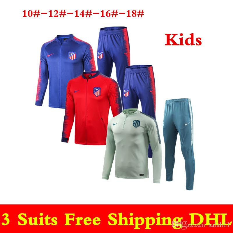 Best Selle Newest 18 19 Atletico Madrid Kids Tracksuits 2019 Red ... 2fa4e18ce
