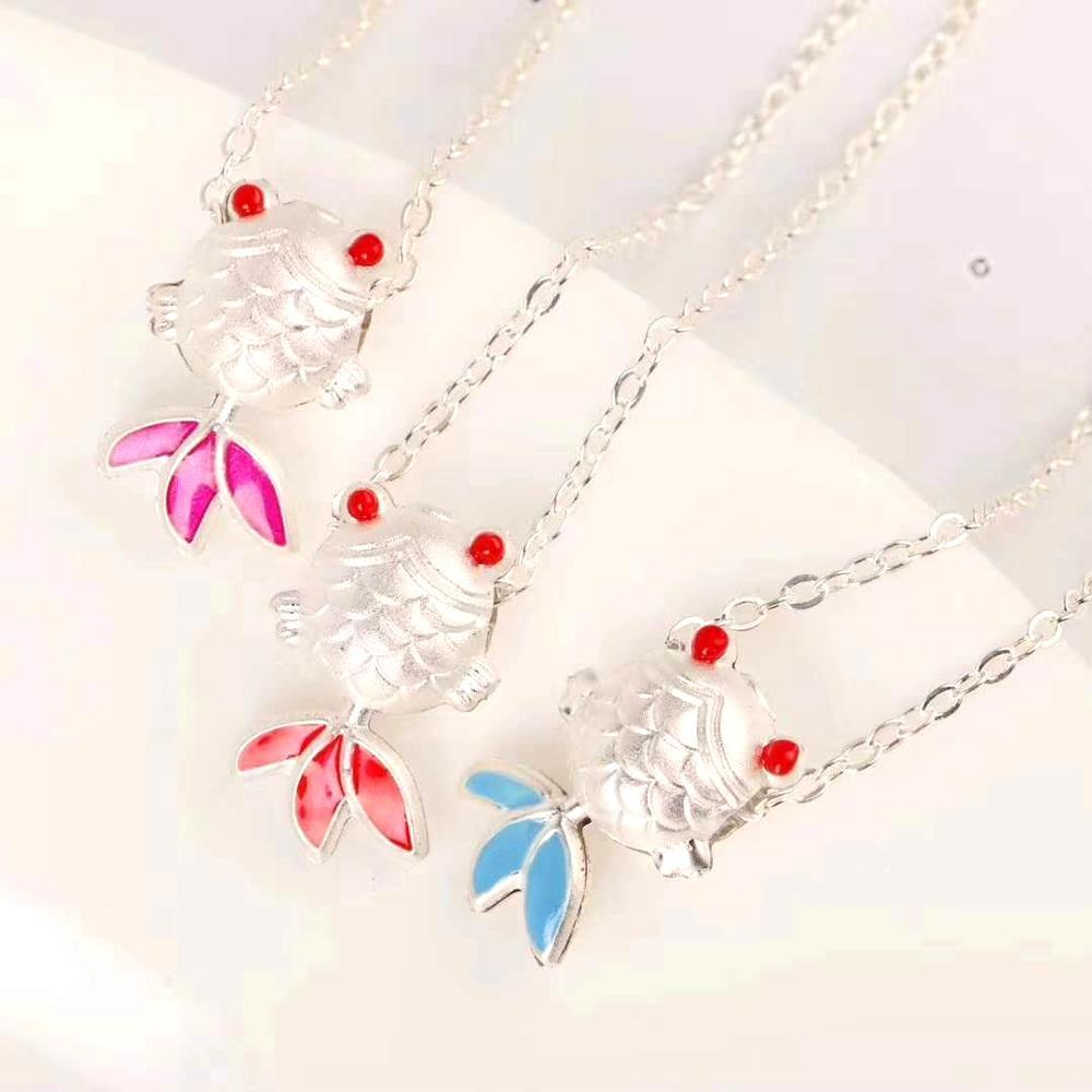[wave girl small goldfish] 999 foot silver susuke cartoon net red fish pendant web celebrity necklace go quantity promotion gift