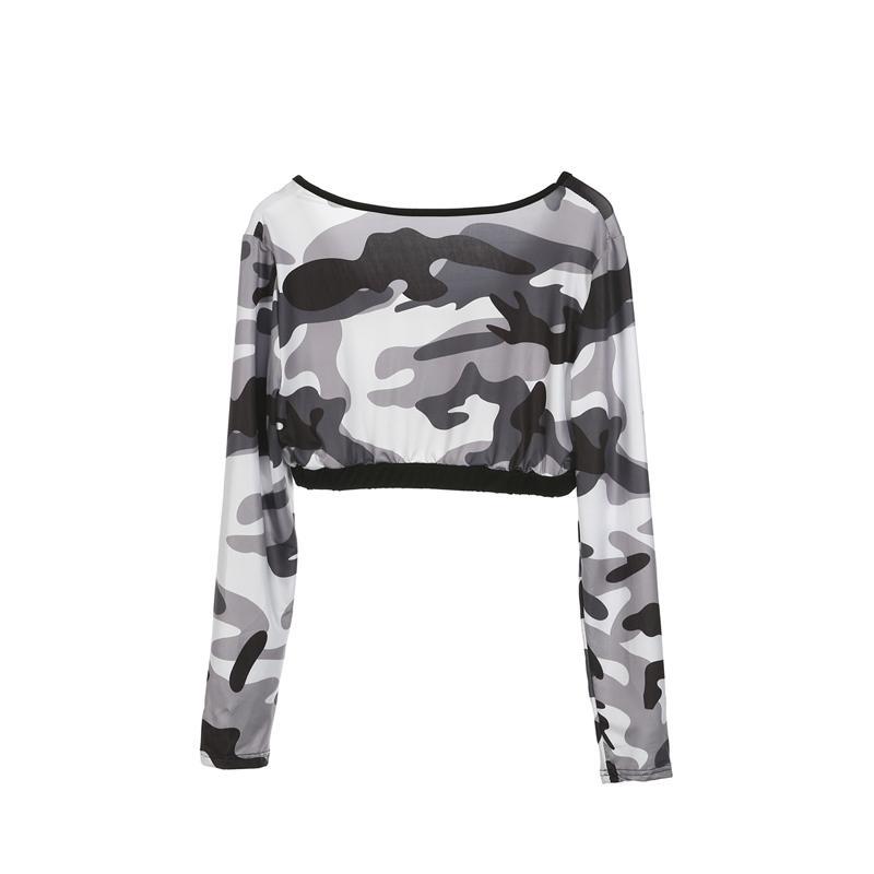 Активная женская мода тонкий повседневный длинный рукав узкая рубашка топы камуфляж печати брюки спортивная одежда набор тренировки Фитнес леггинсы