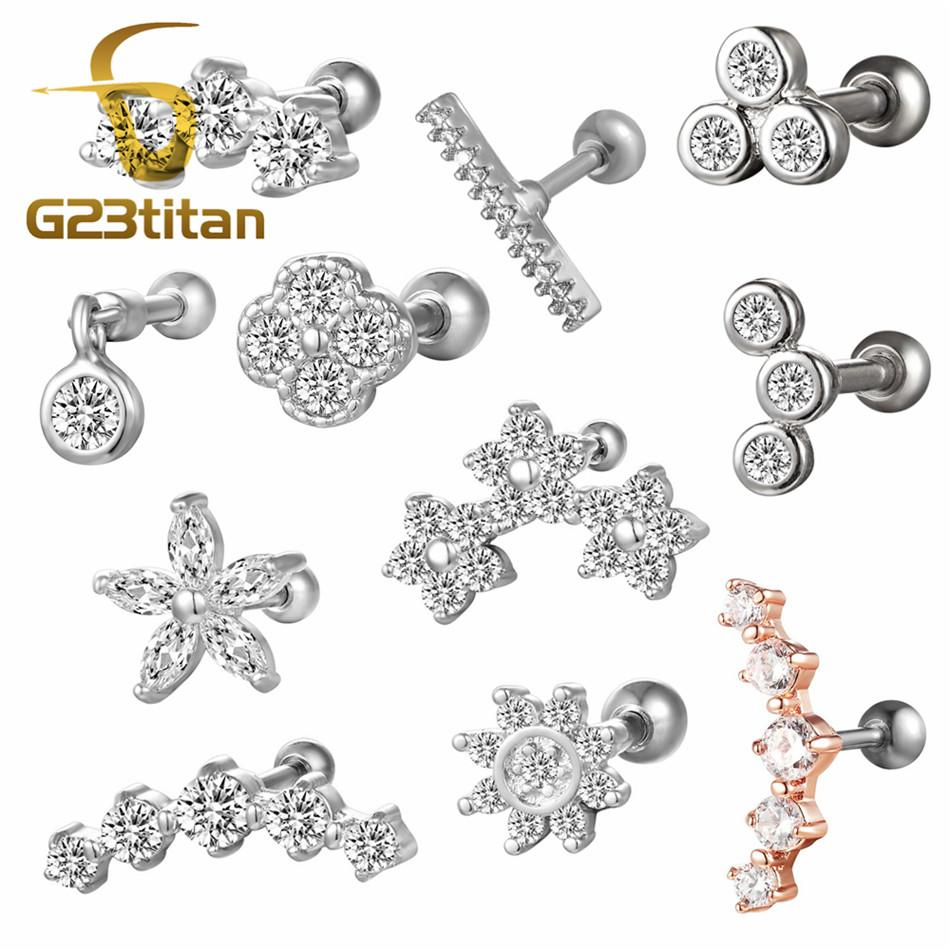 e5348e3f9 2019 G23tian Surgical Titanium Crystal Flower Ear Studs Cartilage Earrings  Tragus Helix Piercing 16 Gauges Silver Ear Studs Lip Rings From Atunice, ...
