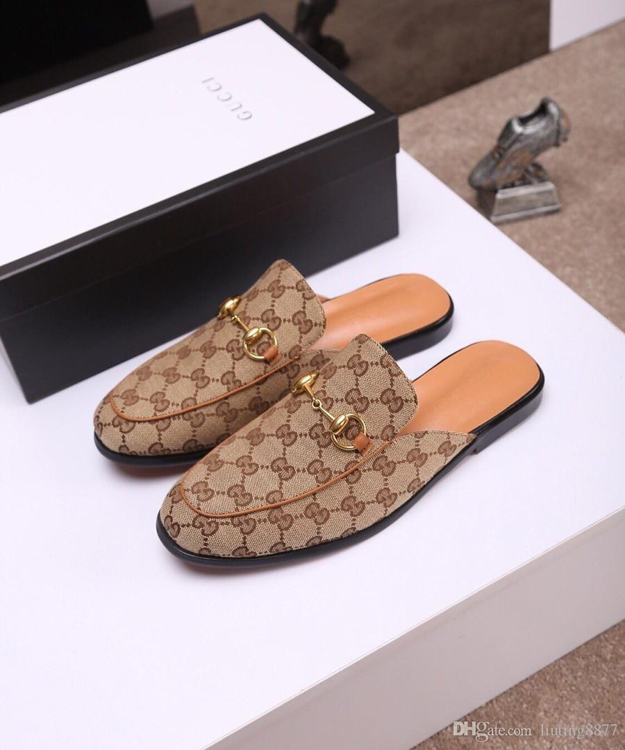 16cc67cde Designer Slippers For Men Light Leather Horsebit Slipper Summer Beach  Footwear Symbolic Gold Tone Princetown Embroidered Moccasins Shoes C2 Green  Shoes ...