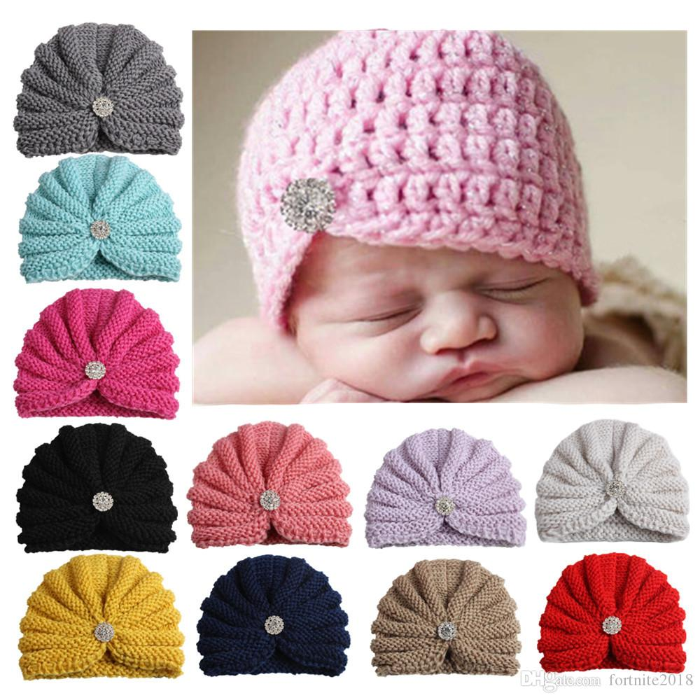 c7e6ec7f573 Infant Baby Hats with Pearls Rhinestones Kids Candy Color Knit ...