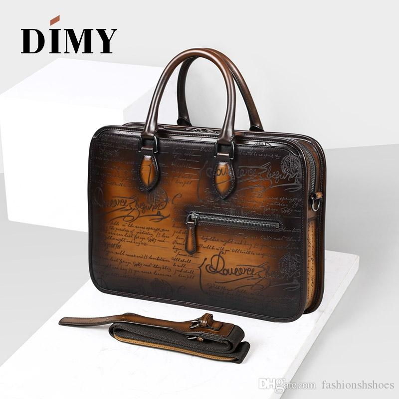 DIMY Italian Calfskin Leather Briefcases Bags For Men 2018 Macbook Handmade Laptop Bags Business Case Totes Vintage Shoulder Bag #244091