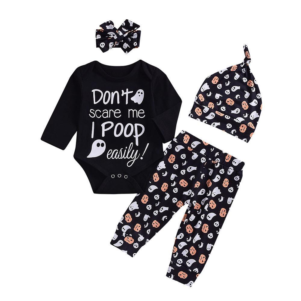 0f74cc38dc24 Good Quality Halloween Clothes Set Kids Clothing Letter Print Romper ...