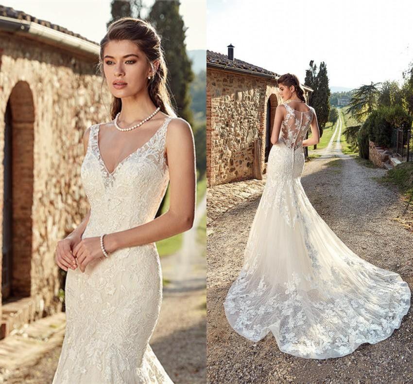 Eddy K 2019 Wedding Dresses Western Country Bohemian V Neck Lace Appliques Bridal Gowns Sweep Train Mermaid Wedding Dress Robe De Mariee