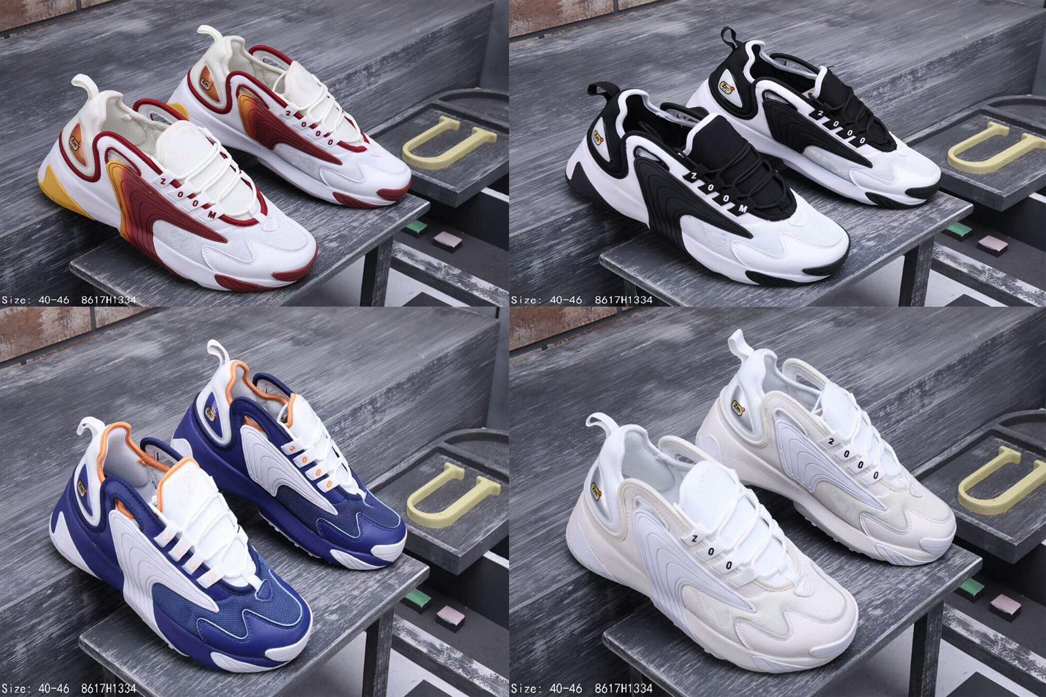 low priced 48b9d 7cd4c Acheter M2k Tekno Zoom 2K ZM 2000 Hommes Lifestyle Chaussures De Sport En  Plein Air Noir Blanc Bleu Orange Chaussures De Sport De Mode Taille US 7 12  Avec ...
