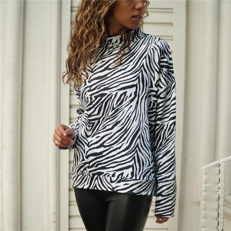 1980e62f6248d 2019 2019 New Zebra Print Womens Tops And Blouses Spring Casual Knitted  Shirt Stand Collar Long Sleeve Ladies Blouse Top Blusa Mujer From  Godblessus16388801 ...