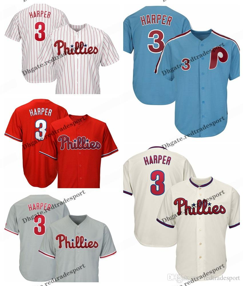 free shipping e61ea ee334 Mens 3 Bryce Harper Jersey Philadelphia Phillies Red stripe Blue White Mesh  Retro Alternate Cool Base Harper Baseball Jerseys
