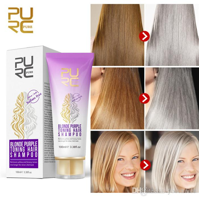 PURC Blonde Purple Hair Shampoo Removes yellow and brassy tones for silver Ash look Purple Hair Shampoo 100ml
