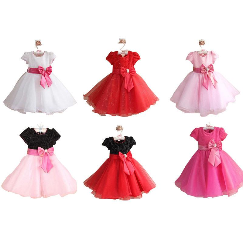 048b758a4 Sequined Bow Girl Party Wedding Dress Short Sleeve Baby Girl ...