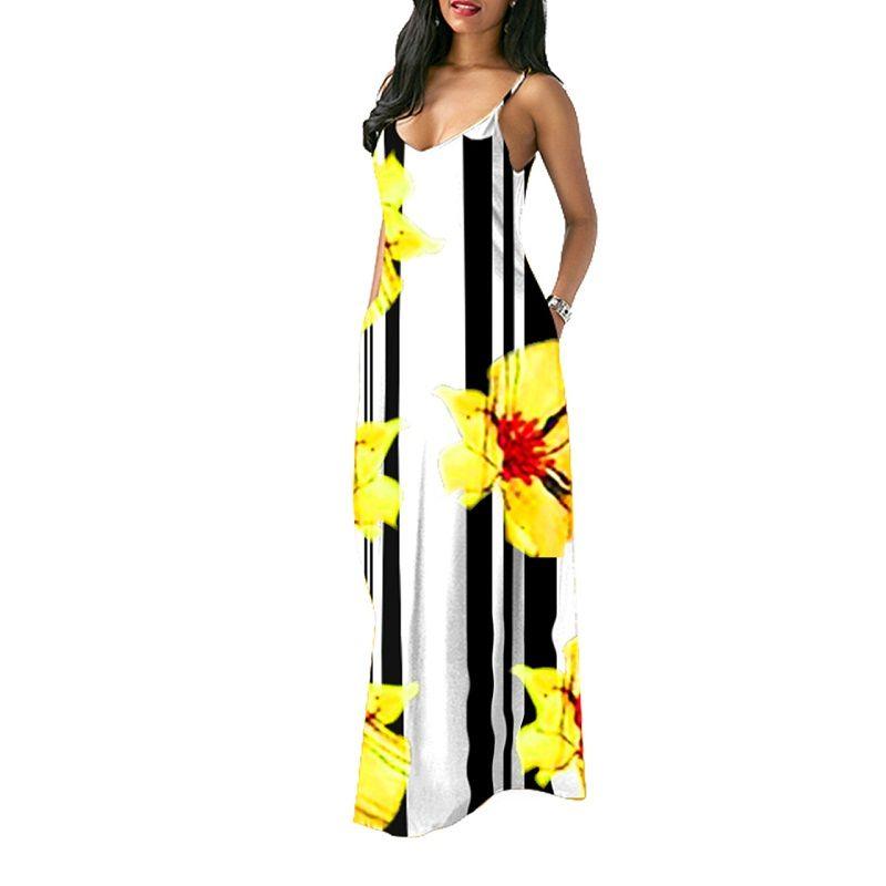 8288b657c18d2 Women Floral Maxi Dress Boho Printed Adjustable Straps V Neck Summer Beach  Dress Q102
