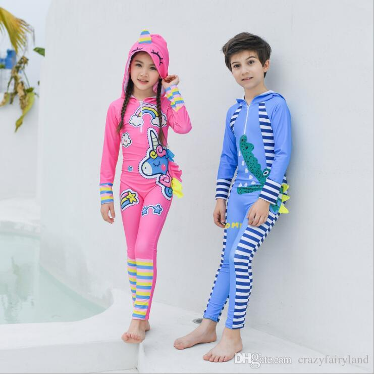 e26c917ce4 2019 Kids Boys Girls One Piece Rash Guard 2019 Summer Dinosaur Unicorn  Water Sports Sun Protection Long Sleeves Full Suit Swimsuit Wetsuit 2 12Y  From ...