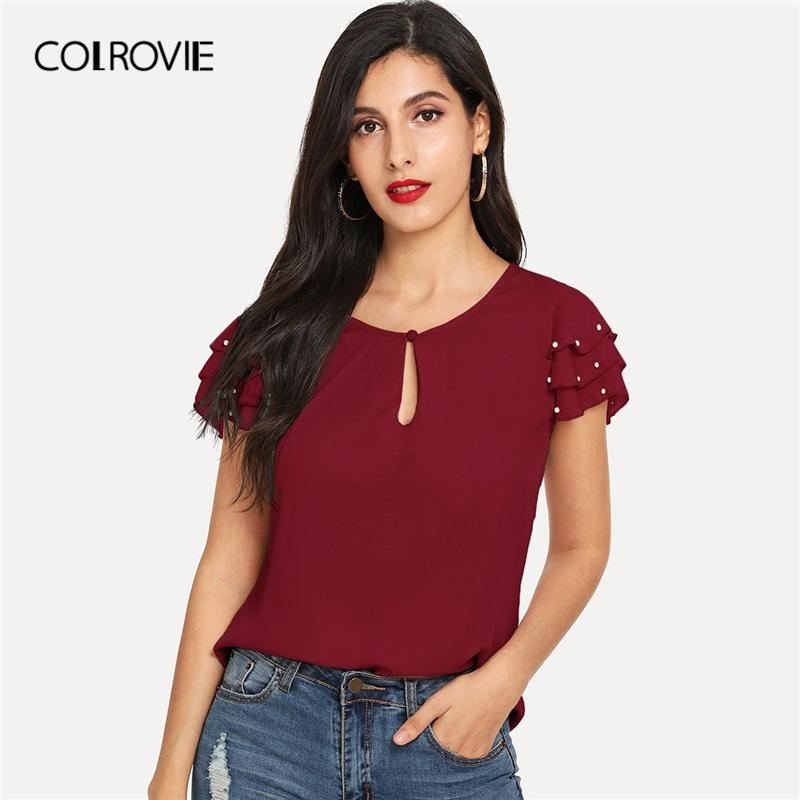 Women's Clothing Colrovie Plus Size Pocket Striped V-neck Womens Tops And Blouses 2019 Summer Cap Sleeve Casual Clothes Female Fashion Blouse With The Best Service