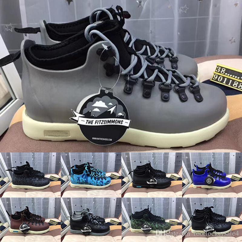 the latest e4351 a23cf 2019 New Native Fitzsimmons Stivaletti da uomo in pelle di lusso Designer  Sneakers Zebra Blue Black Grigio da donna multi colore scarpe sportive Eur  ...