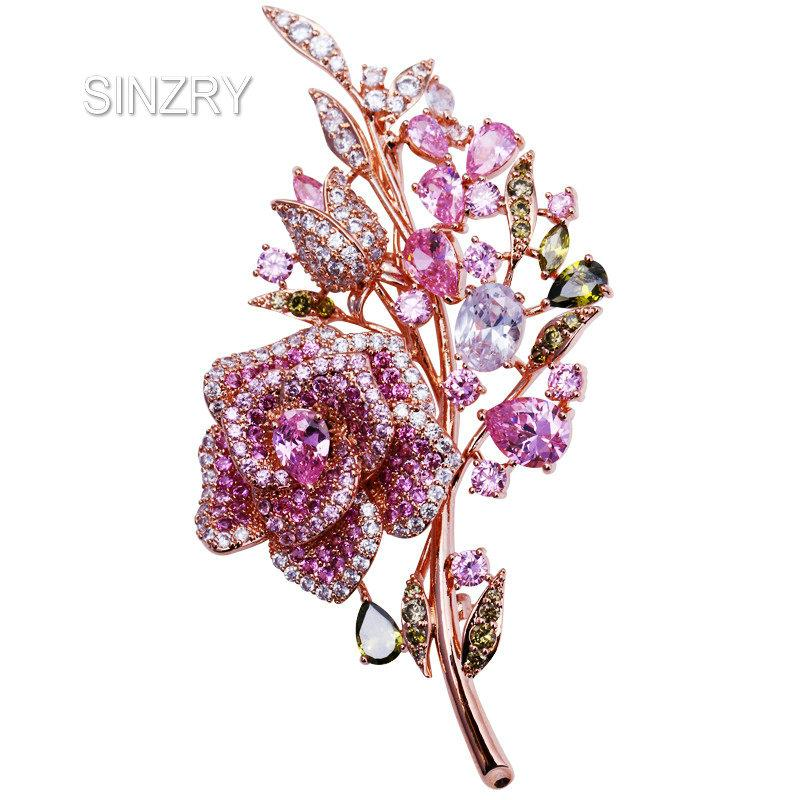 wholesale creative bridal jewelry accessory pink cubic zircon luxury rose flower suit brooches pin lady scarf button jewelry gift