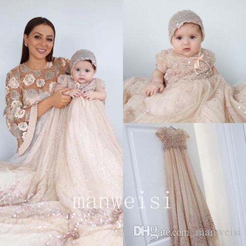 43f5f4f2c Unique 2019 Christening Gowns Crystal Infant Toddler Antique Vintage  Baptism Dresses With Bonnet First Communication Dress Kids Dresses Online  Navy Blue ...