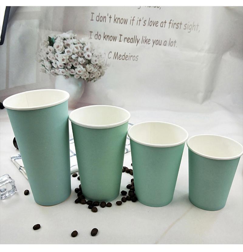 200 шт. Синий толстый бумажный стаканчик одноразовые чашки кофе чай с молоком горячий напиток на вынос упаковка чашки с крышками
