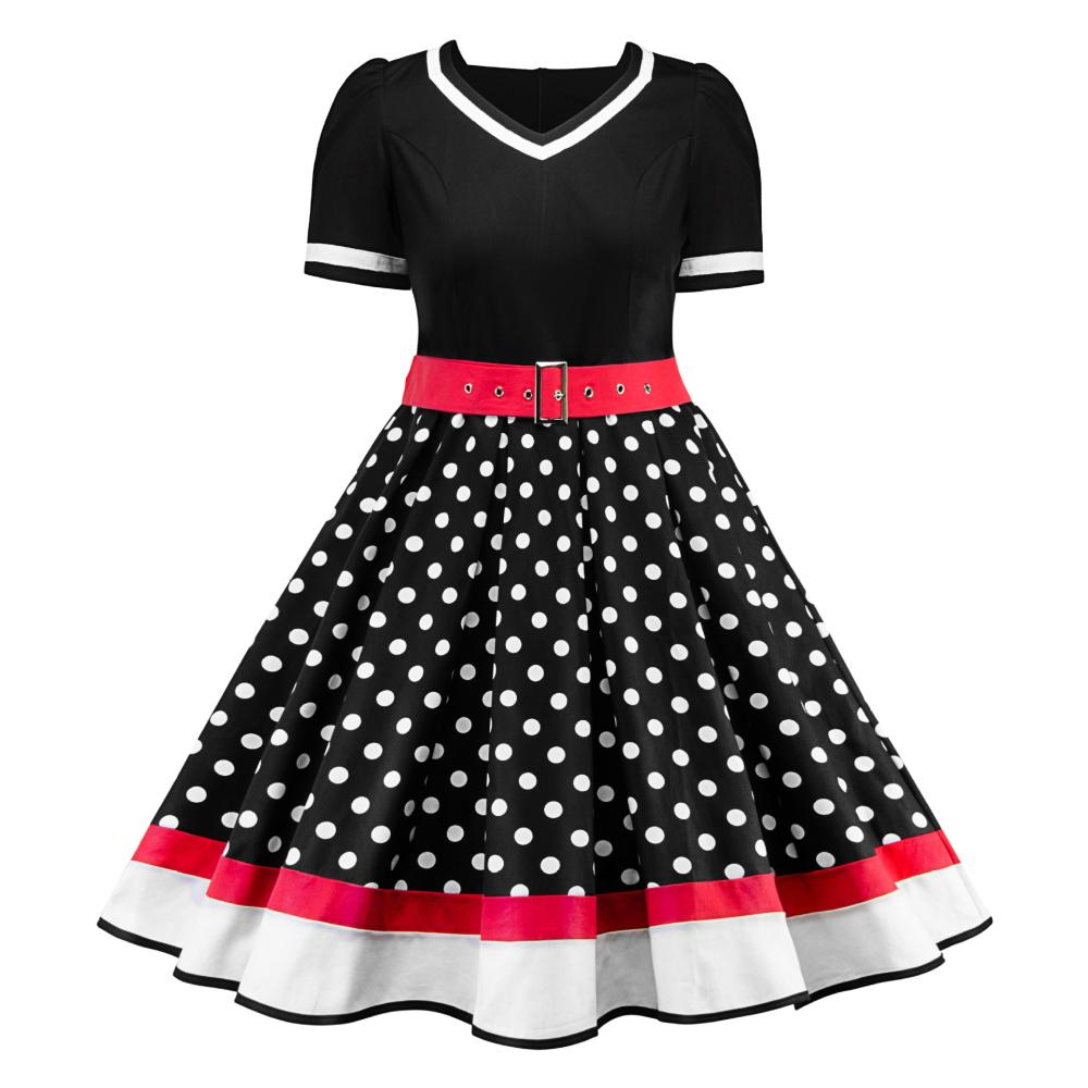 Kenancy 4xl Women Vintage Dress Plus Size Polka Dot Print Retro Dress V  Neck Short Sleeves Belts Vestidos De Festa Office
