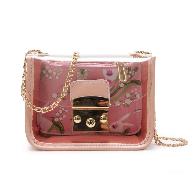 6836fbd1c6ce 2019 Female Transparent Bags Chain Shoulder Bag Korean Jelly Women Bag  Small Crossbody Bag Cartoon Printing Composite 024 Hobo Bags Designer Bags  From ...