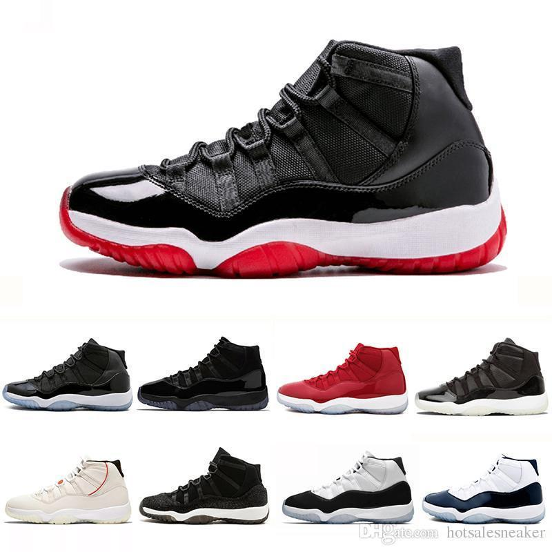 2019 Bred Concord High 45 lfssba 11 XI 11s Cap and Gown PRM Heiress Gym Red Chicago Platinum Tint Space Jams Men sports Sneakers