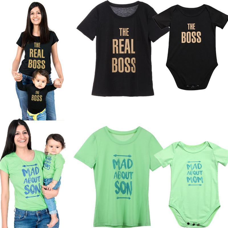 Coincidencia de Familia equipos del verano mamá y me reviste MAMÁ camiseta KID niño bebé Romper las camisas a juego ropa de la familia Tee Tops